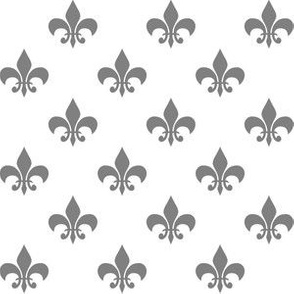 One Inch Medium Gray Fleur-de-lis on White
