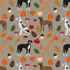 Great Dane fall autumn leaves fabric dog breeds pets dark