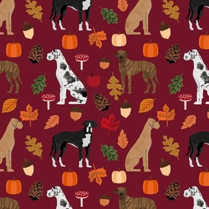 Great Dane fall autumn leaves fabric dog breeds pets ruby