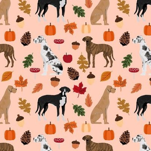 Great Dane fall autumn leaves fabric dog breeds pets peach