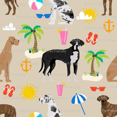 Great Dane beach summer fabric dog breeds pets sand