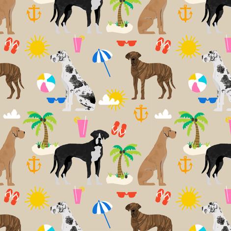 Great Dane beach summer fabric dog breeds pets sand fabric by petfriendly on Spoonflower - custom fabric