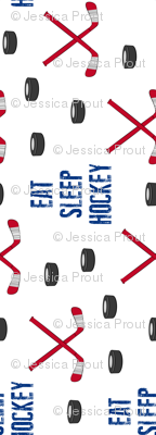(large scale) Eat Sleep Hockey - red and blue (90)