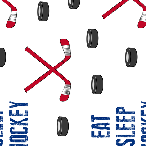 (large scale) Eat Sleep Hockey - red and blue (90) fabric by littlearrowdesign on Spoonflower - custom fabric