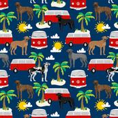 Great Dane hippie bus beach summer fabric dog breeds pets navy