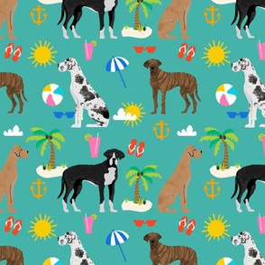 Great Dane beach summer fabric dog breeds pets turquoise