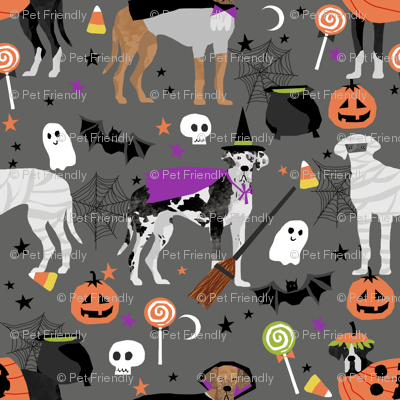 Great Dane halloween fabric dog breeds pets grey