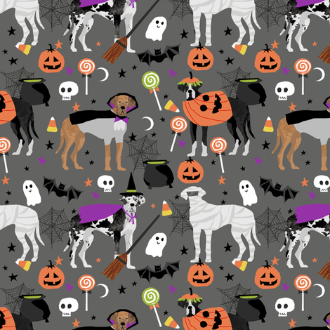 Great Dane halloween fabric dog breeds pets grey fabric by petfriendly on Spoonflower - custom fabric