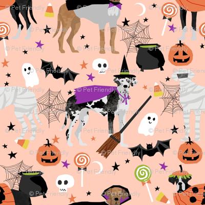 Great Dane halloween fabric dog breeds pets pink