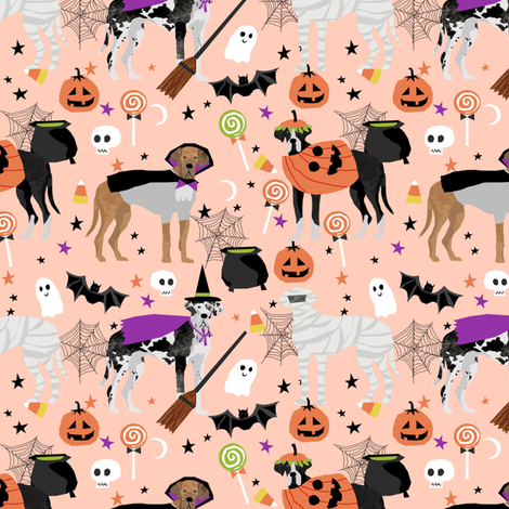 Great Dane halloween fabric dog breeds pets pink fabric by petfriendly on Spoonflower - custom fabric