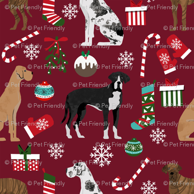 Great Dane mixed coats christmas fabric dog breeds pets ruby