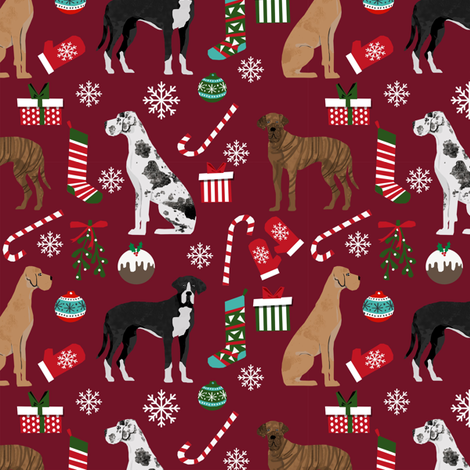 Great Dane mixed coats christmas fabric dog breeds pets ruby fabric by petfriendly on Spoonflower - custom fabric
