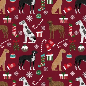 Great Dane mixed coats christmas fabric dog breeds pets ruby