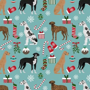 Great Dane mixed coats christmas fabric dog breeds pets med blue