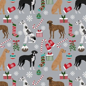Great Dane mixed coats christmas fabric dog breeds pets grey