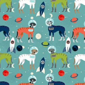 Great Dane outer space astronauts fabric dog breeds pets med blue