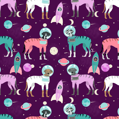 Great Dane outer space astronauts fabric dog breeds pets purple fabric by petfriendly on Spoonflower - custom fabric
