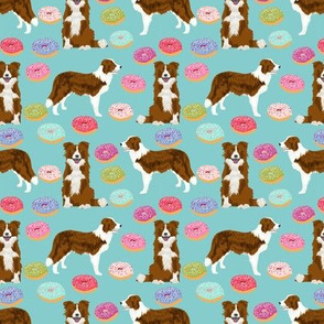 border collie dog fabric dogs and donuts design red and white border collies