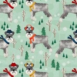 schnauzer winter snow day fabric - dogs in winter fabric
