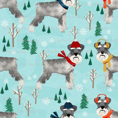 schnauzer winter snow day fabric - dogs in winter fabric