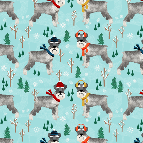schnauzer winter snow day fabric - dogs in winter fabric fabric by petfriendly on Spoonflower - custom fabric