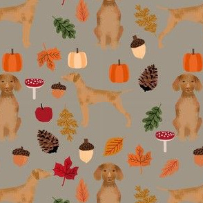 vizsla autumn leaves fabric fall autumn design