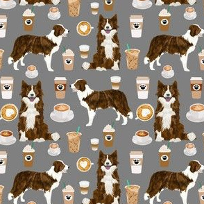 brindle border collie fabric dogs and coffee design - grey