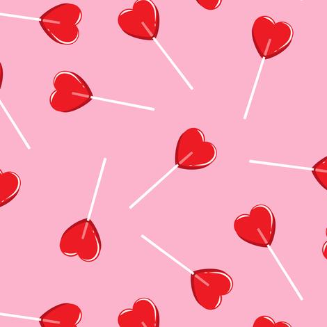 heart shaped suckers - lollipops red on pink fabric by littlearrowdesign on Spoonflower - custom fabric