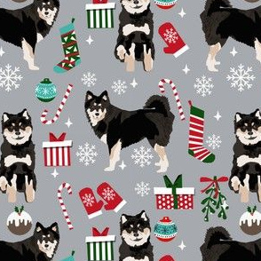 Finnish lapphund dog fabric - xmas christmas dog design