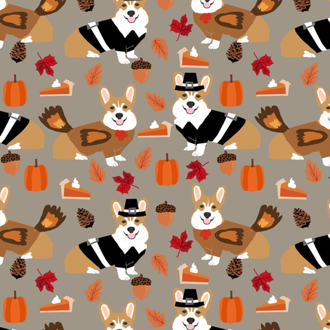 corgi thanksgiving fabric dog autumn fall fabric  fabric by petfriendly on Spoonflower - custom fabric