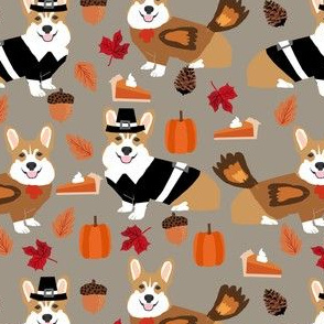 corgi thanksgiving fabric dog autumn fall fabric