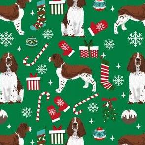 liver english springer spaniel dog fabric christmas dog design