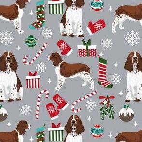 liver english springer spaniel dog fabric christmas dog design