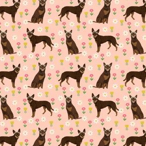 australian kelpie fabric red kelpie design - flowers daisies design