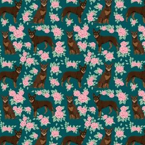 australian kelpie fabric red kelpie design - flowers roses