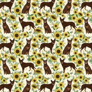 australian kelpie fabric red kelpie design - flowers sunflowers