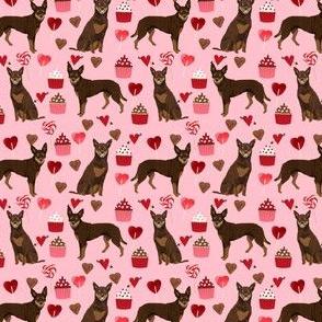 australian kelpie fabric red kelpie design - valentines cupcakes hearts fabric