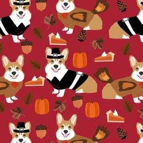 Corgi thanksgiving fabric dog thanksgiving fabric -red