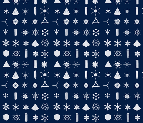 The Geometry of Snowflakes (large) fabric by pattern_archive on Spoonflower - custom fabric