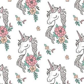 Dreamy Unicorn & Vintage Boho Flowers on White Smaller