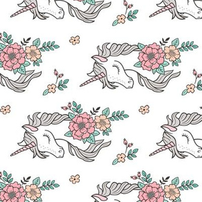 Dreamy Unicorn & Vintage Boho Flowers on White Smaller Rotated