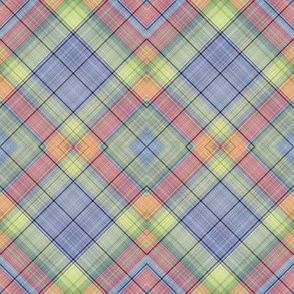 STRAWBERRY DIAGONAL  PLAID BLUE