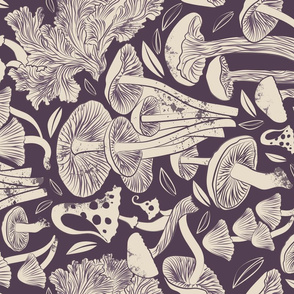 Delicious Autumn botanical poison // beet purple background beije mushrooms