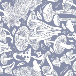 Delicious Autumn botanical poison // normal scale // pale blue grey background white mushrooms