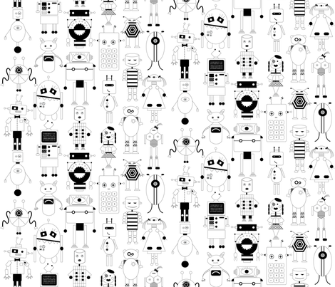 robot party fabric by booboo_collective on Spoonflower - custom fabric