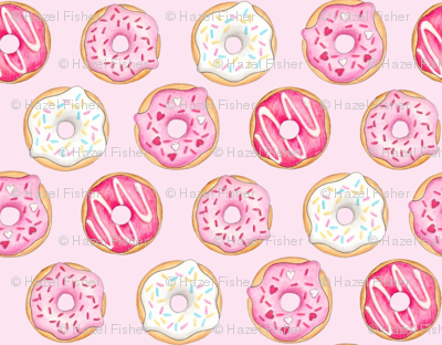 Iced Donuts Pink - on light pink, 1 inch donuts