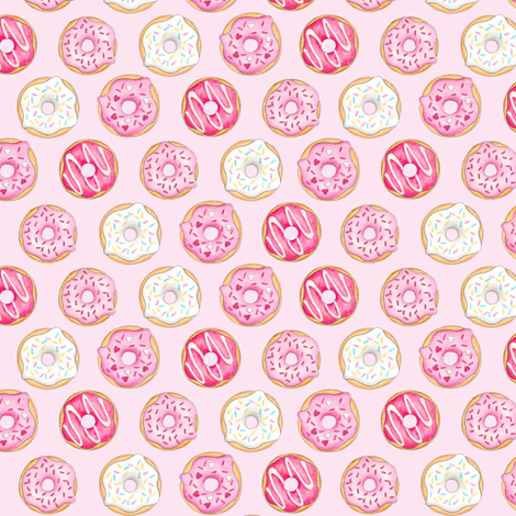 Iced Donuts Pink - on light pink, 1 inch donuts fabric by hazelfishercreations on Spoonflower - custom fabric