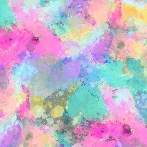Watercolour Abstract Paint & Splatters Pink Mint Green Yellow