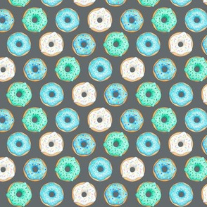 Iced Donuts - Blue on dark grey - 1 inch donuts