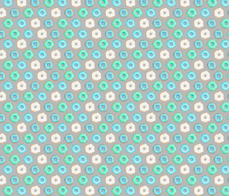Iced Donuts- Blue on light grey - 1 inch donuts fabric by hazelfishercreations on Spoonflower - custom fabric